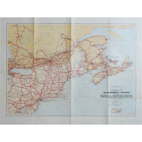 map between usa and canada 1930 automobile roads between usa and canada original