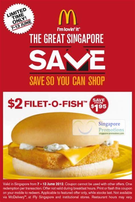 Mcdonalds Deal Calendar Mcdonald S Singapore 2 Filet O Fish Burger Coupon 7 13