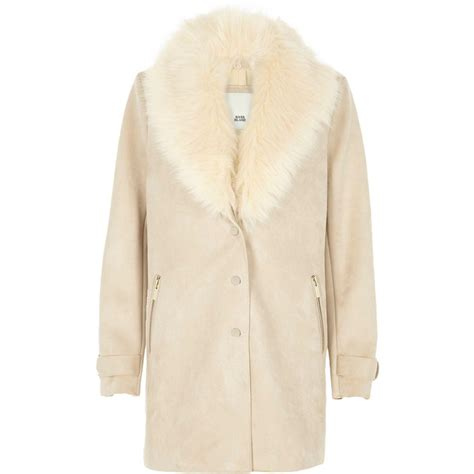 cream swing coat river island cream faux fur collar swing coat cream faux