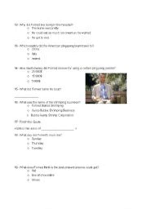 film quiz in english english teaching worksheets forrest gump