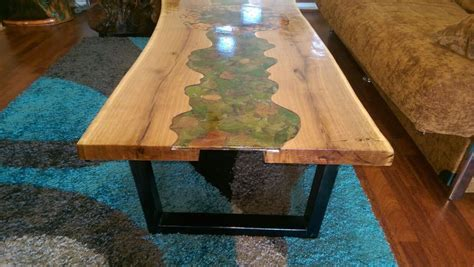 epoxy resin bench tops autumn landscape modern unic coffee table solid slab oak