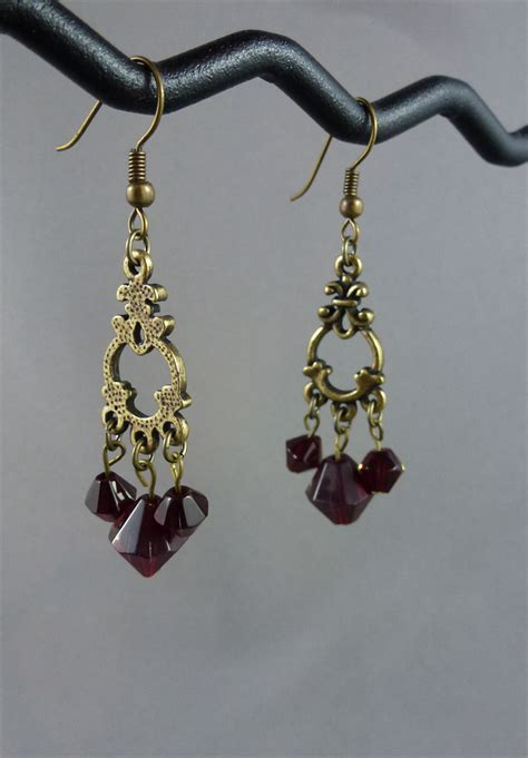 Chandelier Earrings Australia Burgundy Antique Gold Chandelier Earrings Toni Leigh Creations Madeit Au