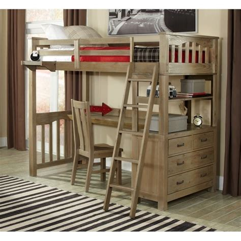 twin size loft bed with desk ne kids highlands twin loft bed with desk and shelf in