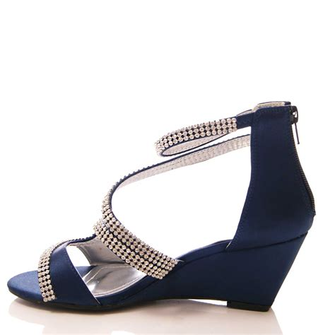 new navy blue satin sparkly med heel wedge