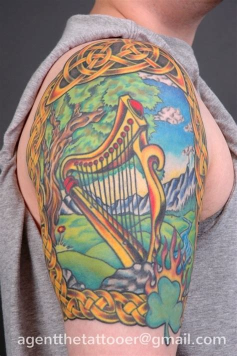 irish harp tattoo harp agentthetattooer harp