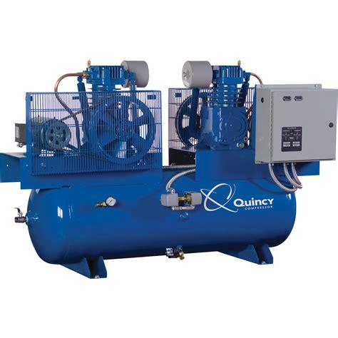 quincy qt splash lubricated duplex air compressor  hp  volt  phase  gallon