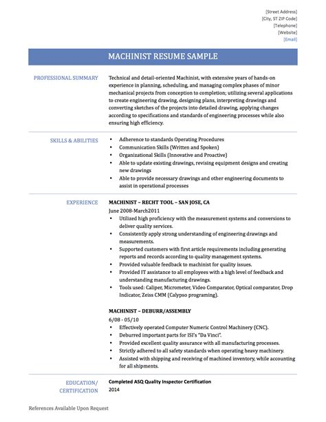 Machinist Resume by Machinist Resume Exle Resume Ideas