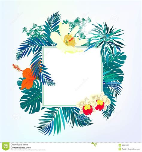 carte carr 233 e avec le d 233 cor tropical illustration de