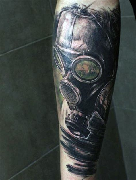 gas mask tattoo illustrative style colored gas mask on forearm