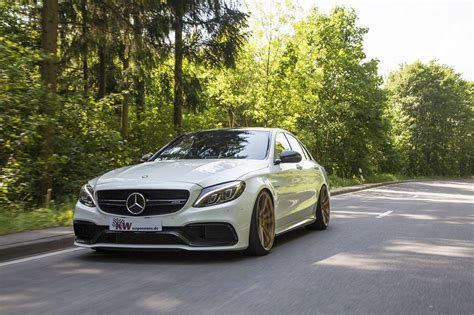 Mercedes Amg C63 S Lowered On Kw Coilovers And Gold Wheels