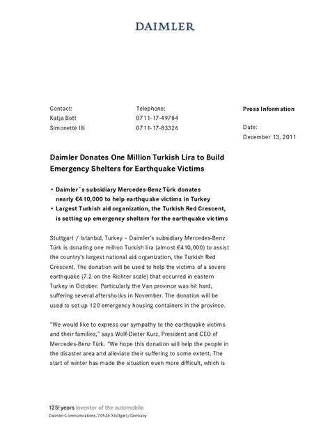 Fundraising Letter For Earthquake Victims Donation 1 Million Turkish Lira For Earthquake Victims En Pdf