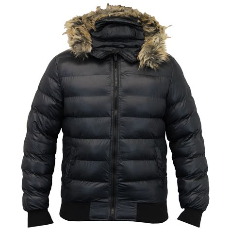 Seoul Blazer Jaket Coat mens parka jacket brave soul coat hooded fur padded bomber winter ebay