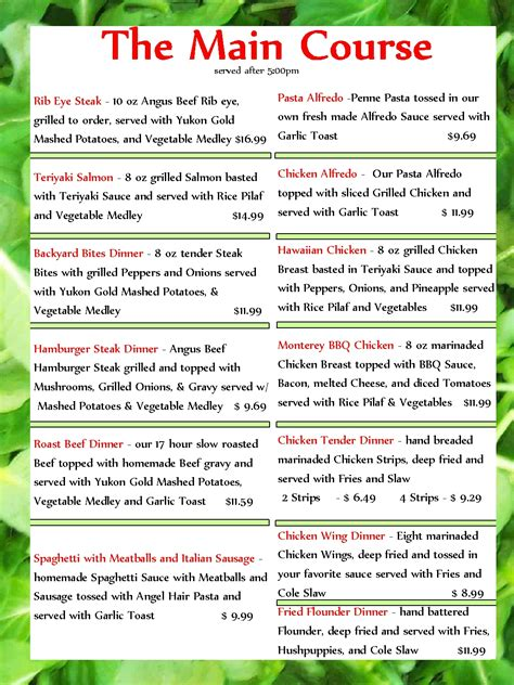 Backyard Cafe Menu by Backyard Cafe Menu Outdoor Furniture Design And Ideas
