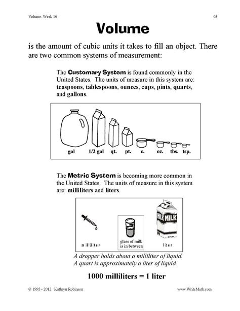 volume practice problems 3rd 4th 5th grade worksheets