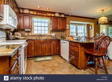 middle class kitchen designs kitchen in an american middle class house stock photo