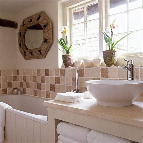 cottage bath small neutral bathroom with brown tiles and contemporary