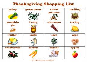 thanksgiving food shopping list the gallery for gt thanksgiving food list shopping