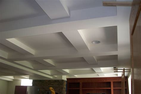 Concrete Coffered Ceiling Painted White Color Basement Tray Ceiling Tiles With