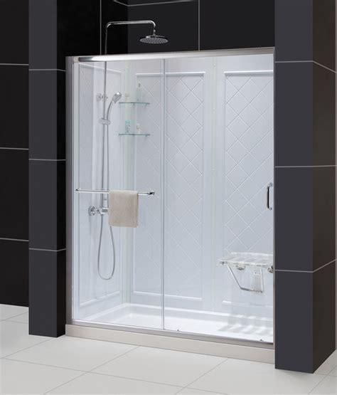 Shower Door Kits Dreamline Infinity Z Sliding Shower Door Shower Base And Shower Backwall Kit Contemporary