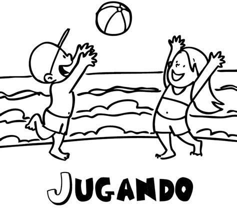 imagenes de niños jugando sin colorear dibujo para imprimir y colorear de ni 241 os jugando en la playa