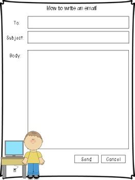 Email Template For Kids By Adrienne Jackson Teachers Pay Teachers Blank Email Template For Students