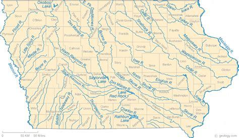 map of iowa rivers map of iowa
