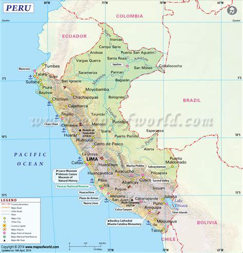 peru on a map peru map map of peru