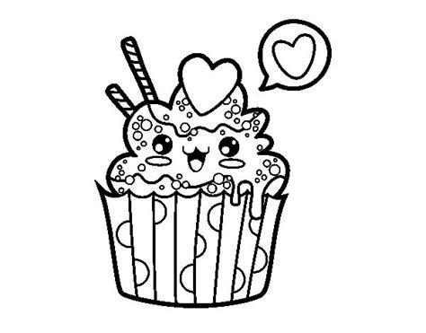 comida kawaii para colorear dibujo de cupcake kawaii para colorear dibujos net