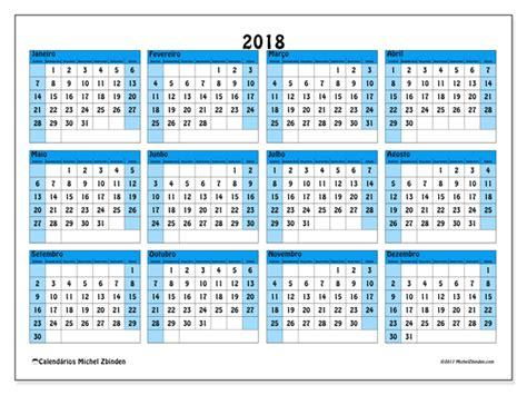 Calendario Anual 2018 Calend 225 Rios Para Imprimir 2018 Brasil