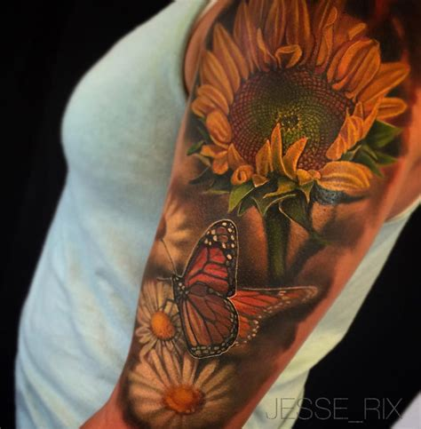 nature sleeve with sunflower butterfly amp daisies best