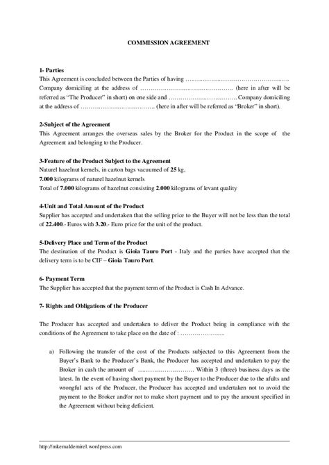 Commission Agreement Letter Sle commission agreement template 28 images 22 agreement templates free sle exle format