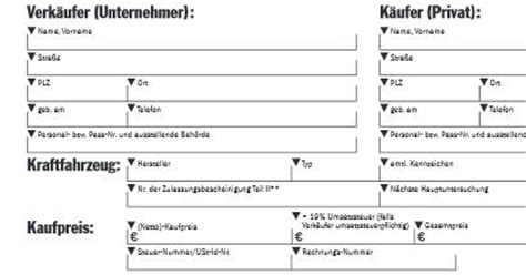 Kaufvertrag Auto Zum Ausf Llen by Kaufvertrag Vorlage F 252 R Gebrauchtes Auto Unternehmen