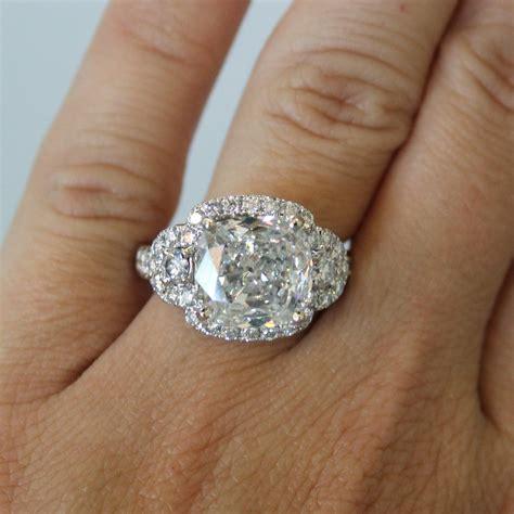 18k white gold 3 57ct cushion cut engagement ring
