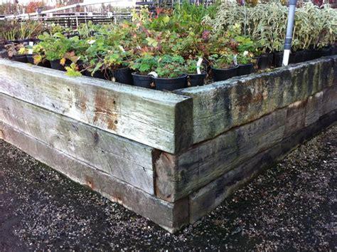 Cheap Garden Sleepers by Used Railway Sleeper Raised Beds