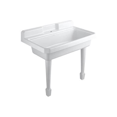 How To Repair A Kohler Kitchen Faucet Shop Kohler White Cast Iron Laundry Sink At Lowes Com