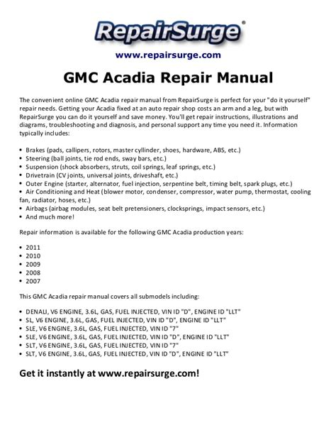 gmc acadia repair manual 2007 2011