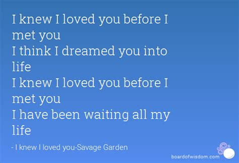 Loved You Before I Met You i knew i loved you before i met you i think i dreamed you