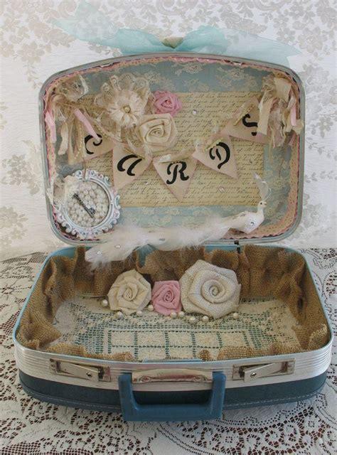 vintage suitcase wedding card box wedding card holder shabby chic wedding country chic wedding