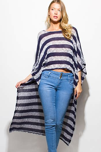 Hem Stripe Lydia Sm wholesale navy blue two toned dolman sleeve open front sweater knit cardigan wholesale