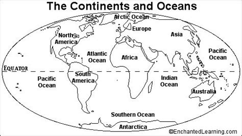 blank continents  oceans worksheets continents