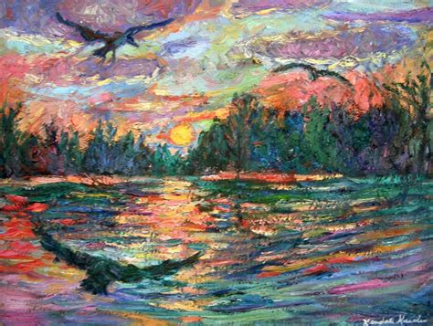 evening flight 12x16 impressionist landscape painting of birds