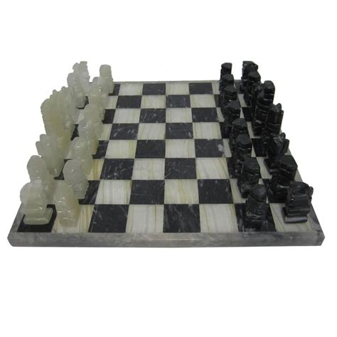 modern chess set vintage modern black and white marble and onyx chess set