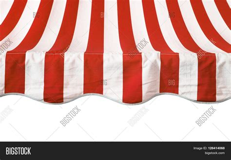 red and white striped awning red white striped awning overhang stock photo stock