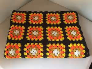 Handmade Afghan Blanket For Sale - vtg handmade afghan blanket brown orange yellow