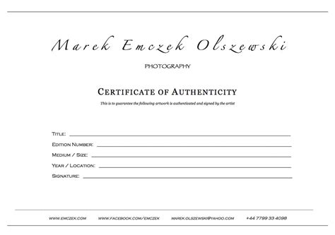 certificate of authenticity photography template microsoft word template certificate of authenticity write
