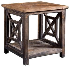 Rustic Accent Table Spiro End Table Rustic Side Tables And End Tables New York By Sykes