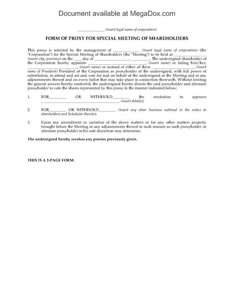 proxy form canada shareholder meeting proxy form forms and