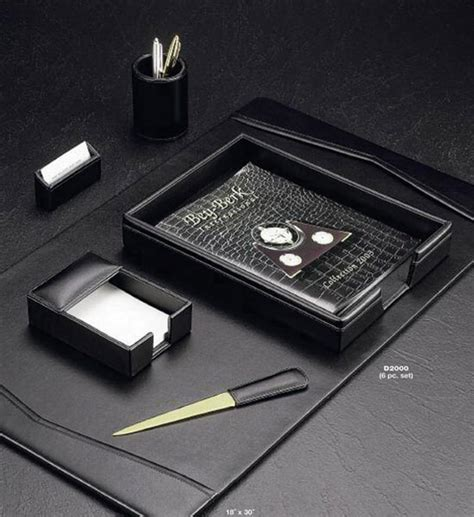 Black Leather Desk Accessories Six Black Leather Desk Set Set Of 6 In Desk