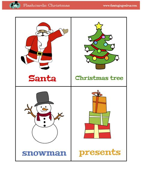printable christmas flashcards flashcards for kids kindergarten preschool