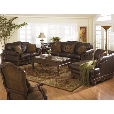 ashley furniture leather sofa set ashley north shore 4 piece leather sofa set in dark brown